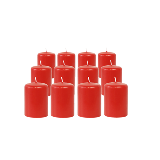 Pack de 12 Bougies Votives Rouge 7cm