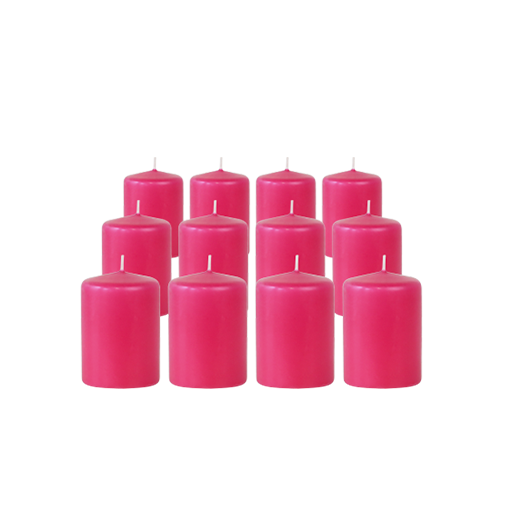 Pack de 12 Bougies Votives Rose Fuchsia 7cm