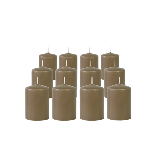 Pack de 12 Bougies Votives Taupe 7cm