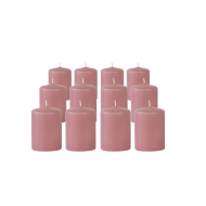 Pack de 12 Bougies Votives Rose Blush 7cm