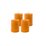 Pack de 4 Bougies Marbrées Orange 7cm