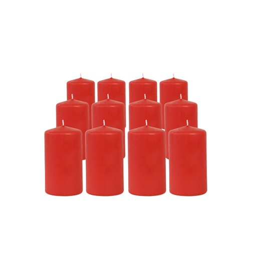 Pack de 12 Bougies Cylindres Rouge 11cm