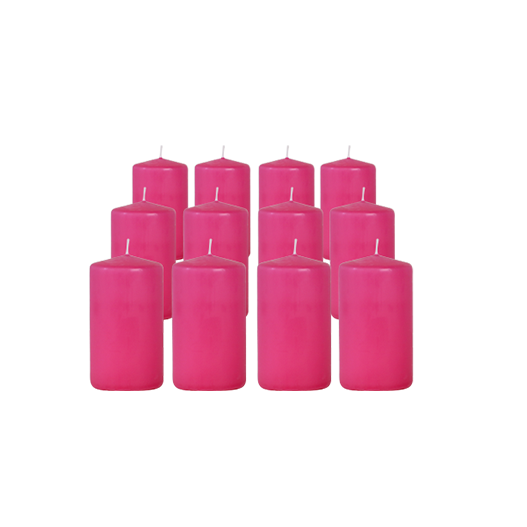 Pack de 12 Bougies Cylindres Rose Fuchsia 11cm