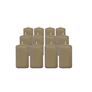 Pack de 12 Bougies Cylindres Taupe 11cm