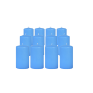 Pack de 12 Bougies Cylindres Bleu Turquoise 11cm