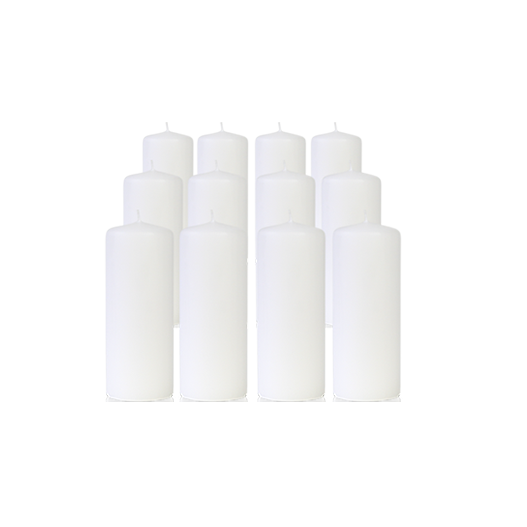 Pack de 12 Bougies Cylindres Blanc 16cm