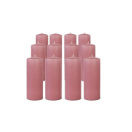 Pack de 12 Bougies Cylindres Rose Blush 16cm