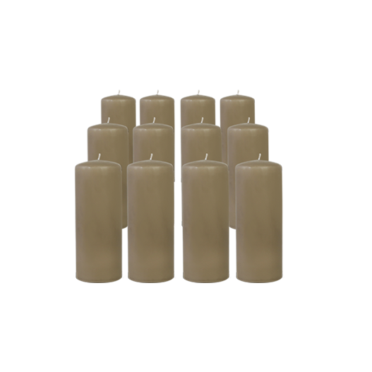 Pack de 12 Bougies Cylindres Taupe 16cm