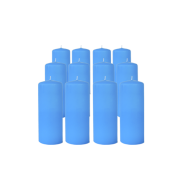 Pack de 12 Bougies Cylindres Bleu Turquoise 16cm