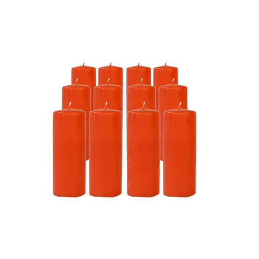 Pack de 12 Bougies Cylindres Corail 16cm