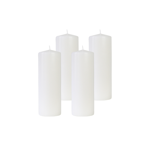 Pack de 4 Bougies Cylindres Blanc 21cm