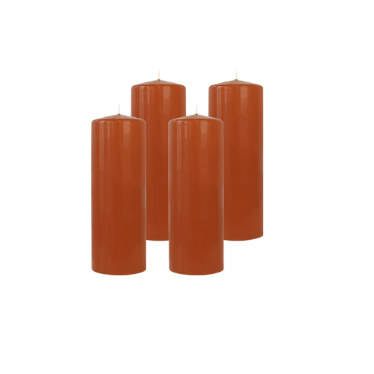 Pack de 4 Bougies Cylindres Caramel 21cm