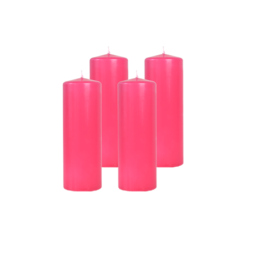Pack de 4 Bougies Cylindres Rose Fuchsia 21cm
