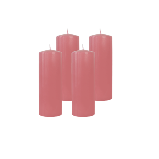 Pack de 4 Bougies Cylindres Rose Blush 21cm