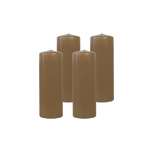 Pack de 4 Bougies Cylindres Taupe 21cm