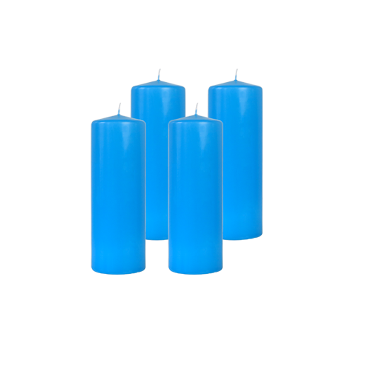 Pack de 4 Bougies Cylindres Bleu Turquoise 21cm