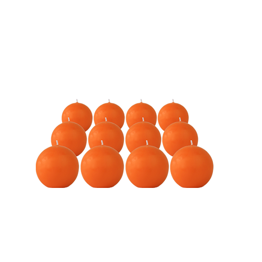 Pack de 12 Bougies Rondes Orange 7cm