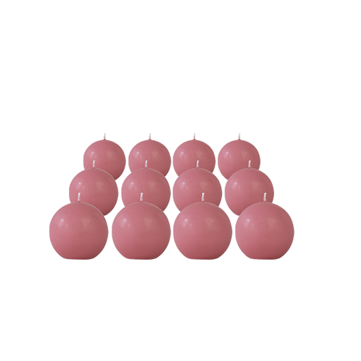 Pack de 12 Bougies Rondes Rose Blush 7cm