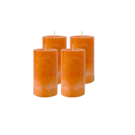 Pack de 4 Bougies Marbrées Orange 13cm