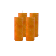 Pack de 4 Bougies Marbrées Orange 18cm