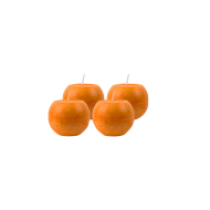 Pack de 4 Bougies Marbrées Rondes Orange 8cm