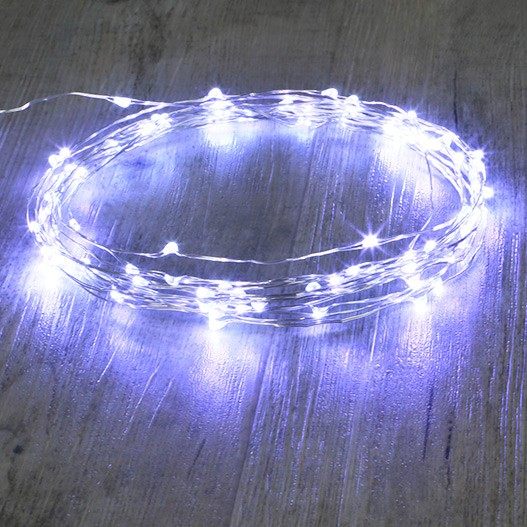 Guirlande Argent 100 Micro LED Blanc Froid