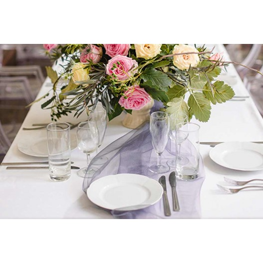Chemin de Table Organza Rose Pâle 9m