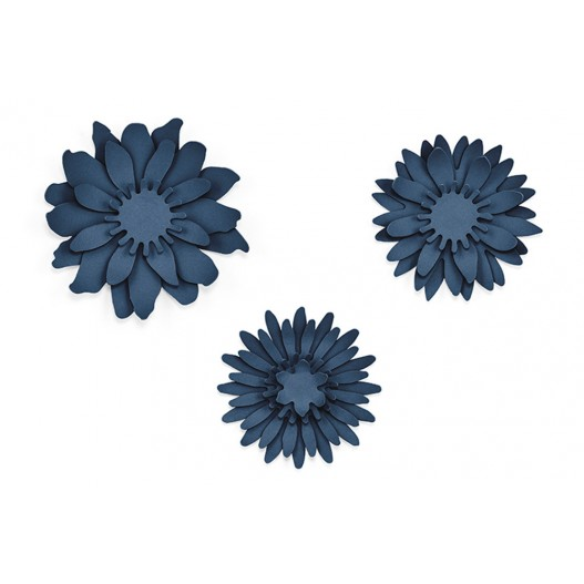 Fleurs Papier Marguerite Centre de Table Navy x3