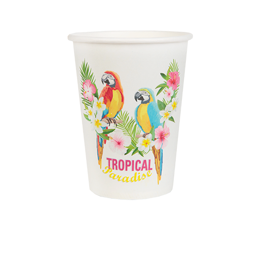 Gobelet Carton Tropical Blanc x10