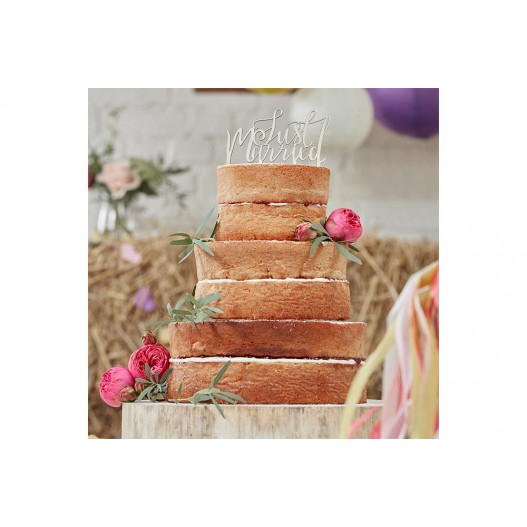 Cake Topper Bois Just Married Naturel 14 cm