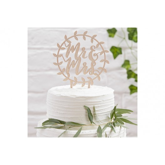 Cake Topper Rond Bois Mr & Mrs Naturel 20 cm