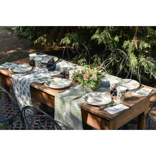 Assiette Carton Tropical Jungle Vert x10