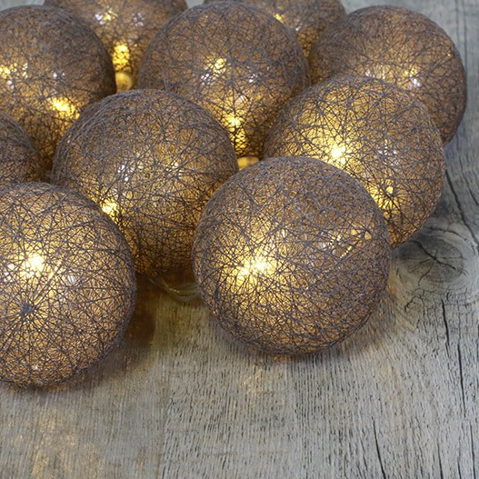 Guirlande Lumineuse 10 Boules Coton Taupe 6 cm