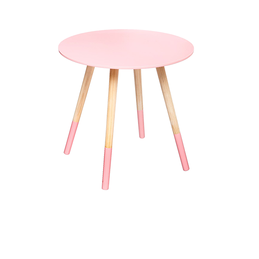 Table Basse Scandinave Bois Rose 45 cm