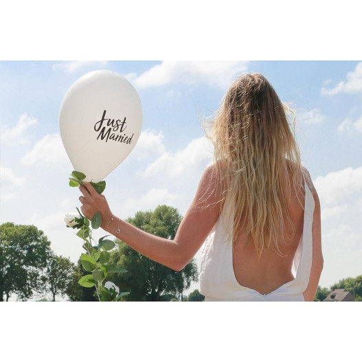 "Ballon Mariage ""Just married"" Blanc"