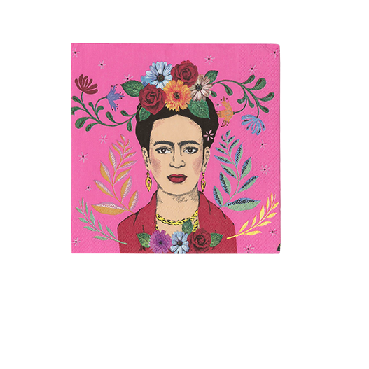 Serviette papier Frida Kahlo rose x20