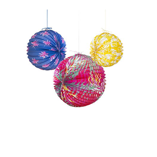 Lampion papier tropical cuban fiesta x3